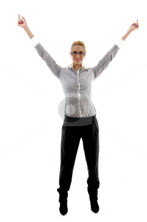Successful businesswoman stock photo, Successful businesswoman on an isolated white background by Imagery Majestic