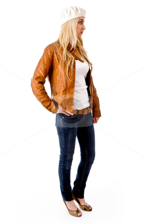 Side view of young female with cap looking aside stock photo, Side view of young female with cap looking aside on an isolated background by Imagery Majestic
