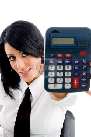 Woman showing calculator stock photo, Woman showing calculator on an isolated white background by Imagery Majestic