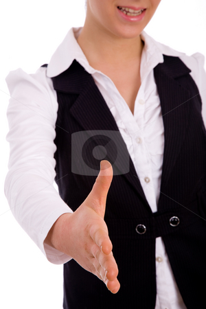 Front view of executive offering handshake stock photo, Front view of executive offering handshake with white background by Imagery Majestic