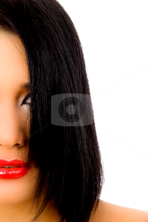 Halflength view of female face stock photo, Halflength view of female face with white background by Imagery Majestic