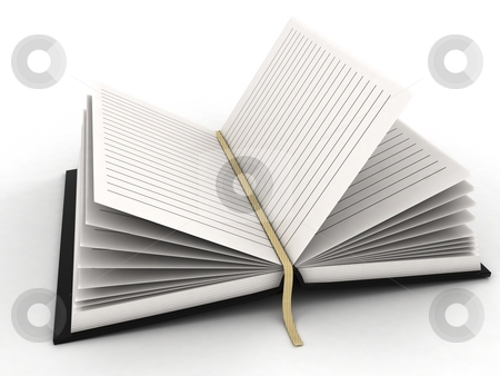 Opened diary stock photo, Three dimensional isolated opened diary by Imagery Majestic
