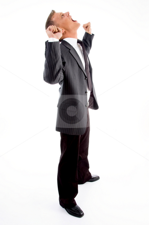 Standing successful young boss stock photo, Standing successful young boss with white background by Imagery Majestic