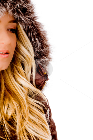 Half length of young model wearing hood jacket stock photo, Half length of young model wearing hood jacket on an isolated background by Imagery Majestic