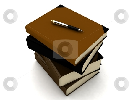 Stack of books stock photo, 3d stack of books on an isolated background by Imagery Majestic