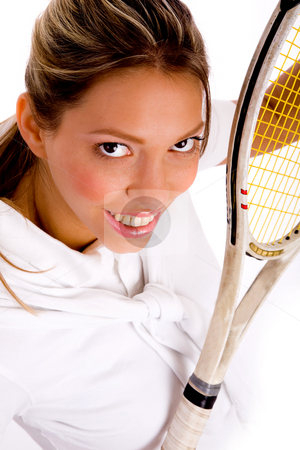Top view of smiling tennis player stock photo, Top view of smiling tennis player on an isolated background by Imagery Majestic