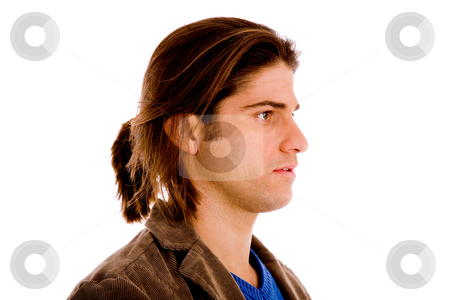 Side pose of man's face stock photo, Side pose of man's face with white background by Imagery Majestic