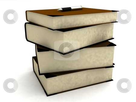 Pile of university books stock photo, 3d pile of university books with white background by Imagery Majestic