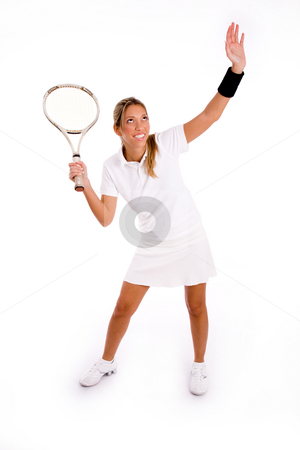 Front view of woman in action stock photo, Front view of woman in action on an isolated white background by Imagery Majestic