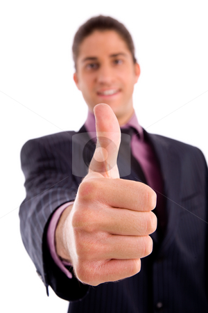 Front view of manager with thumbsup stock photo, Front view of manager with thumbsup on an isolated white background by Imagery Majestic