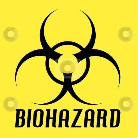 Biohazard Symbol stock photo, Black biohazard symbol over a yellow background. by Todd Arena