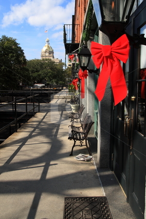 Christmas In Savannah stock photo, Side walks and shops during christmas time in Savannah GA by Jack Schiffer