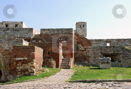 Stone fortress  in Belgrade stock photo, Walls of ancient fortress Kalemegdan in Belgrade, Serbia by Julija Sapic