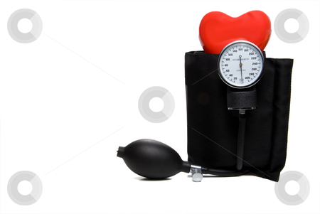 Sphygmomanometer & Heart stock photo, A red heart and a medical blood pressure Sphygmomanometer. by Robert Byron