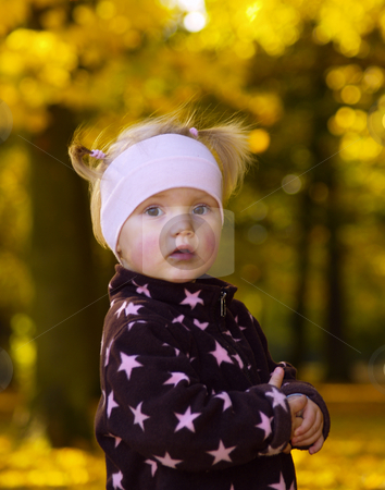 Autumnal toddler portrait stock photo, Adoreable little girls portrait in autumn by Torsten Lorenz