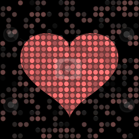 Speckled heart stock photo, Speckled red heart shape on a dark background by Wino Evertz