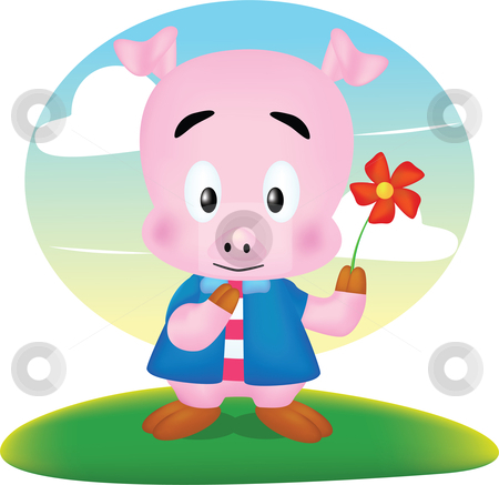 Pig cute stock vector clipart, Cartoon character design style cute by Larintorn Promin