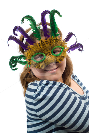 Costume Portrait stock photo, A portrait of a young girl wearing a feather mask, isolated against a white background by Richard Nelson
