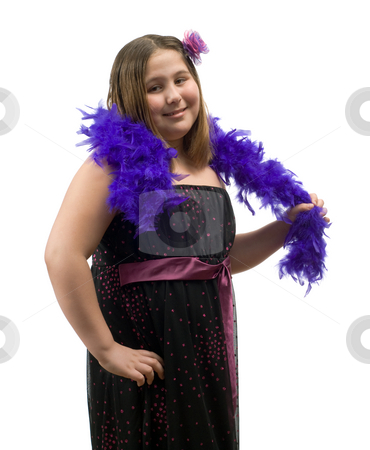 Child Glamour Portrait stock photo, A portrait of a glamour child wearing a nice dress and holding a feathered boa by Richard Nelson