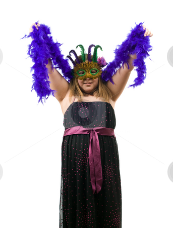 Costume Party stock photo, A young girl dressed for a costume party is wearing a mask and a nice dress, isolated against a white background by Richard Nelson