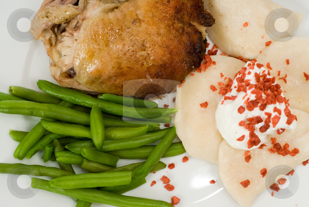 Healthy Meal stock photo, Closeup of a healthy meal, including baked chicken, boiled perogies, and green beans by Richard Nelson