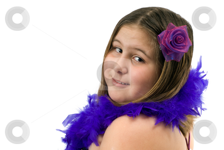 Glamour Portrait stock photo, Closeup view of a girl wearing a feather boa, isolated against a white background by Richard Nelson