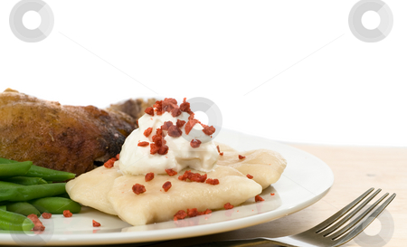 Perogy Supper stock photo, A perogy supper with green beans and chicken by Richard Nelson
