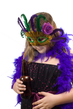 Underage Drinking stock photo, A young minor is thinking about drinking some beer at a party, isolated against a white background by Richard Nelson