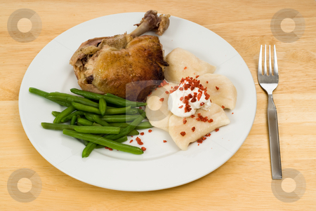 Dinner stock photo, A plate of dinner including chicken, green beans and perogies by Richard Nelson