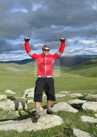Mountain Biking Adventure stock photo, Mountain Biking Adventure in the Mongolian Mountains by Christopher Meder