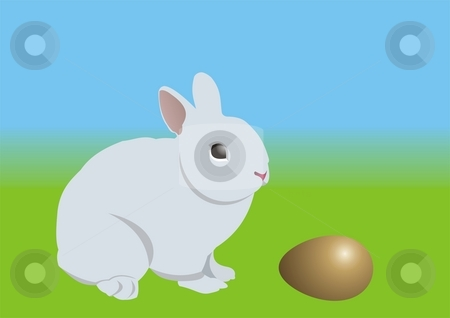 Easter bunny and golden egg stock photo, An Easter bunny, looking at a golden egg. Can be used as an Easter card background. by Mihai Zaharia