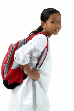 School Girl Bring Bag stock photo, School Girl Bring Bag Isolated by Jaggat Images