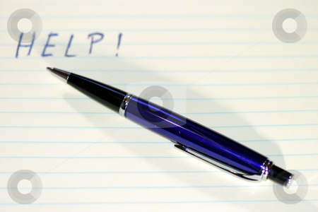 Pen Help stock photo, Pen with the work HELP written on a paper. by Henrik Lehnerer