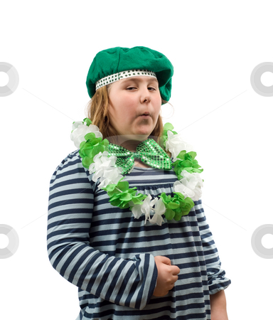 St Patricks Day stock photo, A young girl dressed for St Patricks Day, isolated against a white background by Richard Nelson