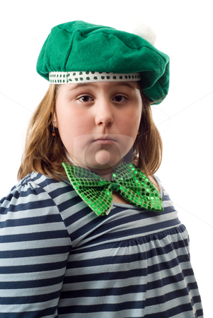 Saint Patrick Day Portrait stock photo, A young girl wearing a green hat and bowtie, isolated against a white background by Richard Nelson