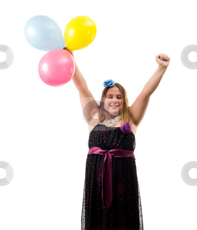 Happy Birthday stock photo, A happy birthday girl with her arms in the air and holding three colored balloons, isolated against a white background by Richard Nelson
