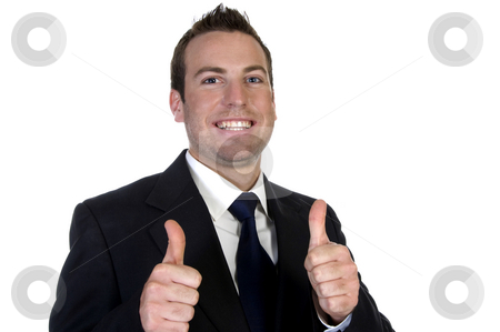 Young happy businesssman and showing thumbsup stock photo, Young happy businesssman and showing thumbsup with white background by Imagery Majestic