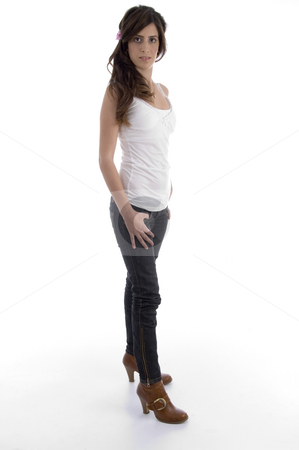 Standing glamorous woman stock photo, Standing glamorous woman with white background by Imagery Majestic