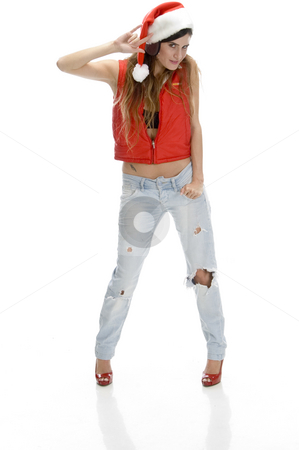 Charming lady showing hand gesture stock photo, Charming lady showing hand gesture on an isolated background by Imagery Majestic