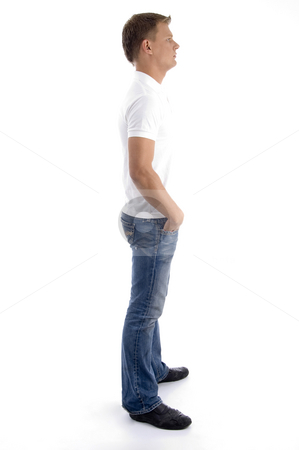 Side pose of handsome guy stock photo, Side pose of handsome guy against white background by Imagery Majestic