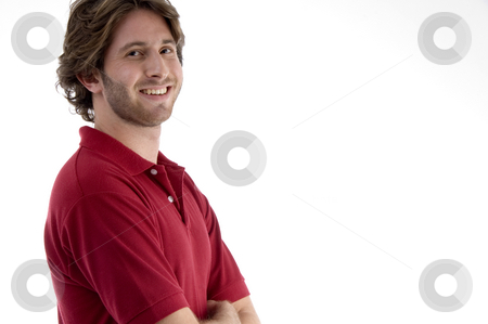 Side pose of pleased male stock photo, Side pose of pleased male against white background by Imagery Majestic
