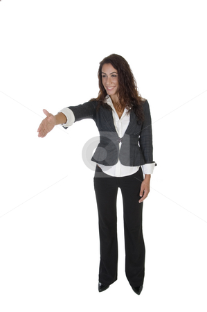 Standing lady offering hand shake stock photo, Standing lady offering hand shake on an isolated white background by Imagery Majestic