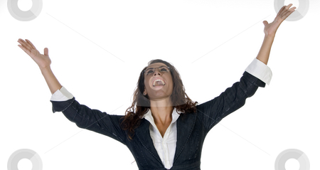Happiest female stock photo, Happiest female against white background by Imagery Majestic