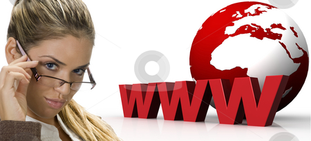 Woman  and three dimensional world wide web with globe stock photo, Woman  and three dimensional world wide web with globe on an isolated white background by Imagery Majestic