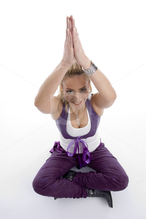 Woman doing yoga stock photo, Woman doing yoga on an isolated background by Imagery Majestic