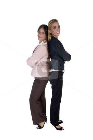 Businesswomen with folded hands stock photo, Businesswomen with folded hands isolated on white background by Imagery Majestic