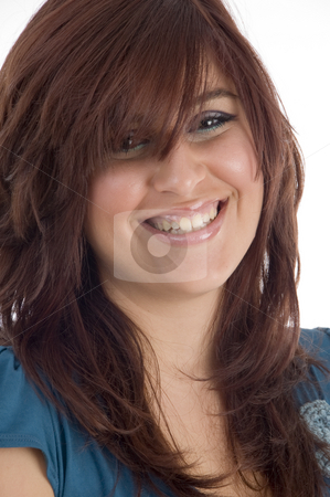 Happy smiling young girl stock photo, Happy smiling young girl on an isolated background by Imagery Majestic
