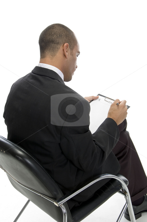 Businessman posing from behind stock photo, Businessman posing from behind with white background by Imagery Majestic