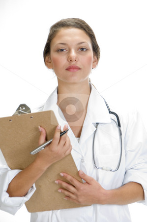 Medical professional with writing pad and pen stock photo, Medical professional with writing pad and pen by Imagery Majestic