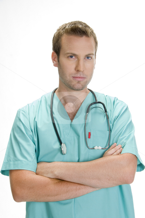 Portrait of young doctor with stethoscope stock photo, Portrait of young doctor with stethoscope by Imagery Majestic